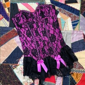 Vintage Fredericks of Hollywood Lace Satin Corset